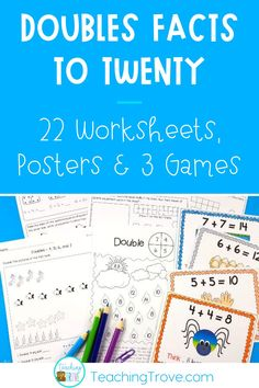 Understanding and using mental math strategies is essential for developing fact fluency. The doubles addition facts can be learned using a mental math strategy. This pack contains 22 worksheets, doubles posters for each double to twenty and three games, all designed to teach and consolidate your student's knowledge of their doubles facts.