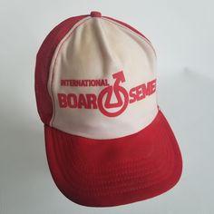 652f9bc5a9c Vintage International Boar Semen Trucker Hat Cap Patch Pig Farm Made in USA  Red by TraSheeWomen