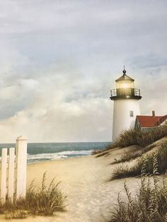 One sheet of scrapbook paper Acid and lignin free Lighthouse Painting, Lighthouse Pictures, Beach Scenes, Beach Art, Ocean Waves, Windmill, Strand, Landscape Paintings, Coastal