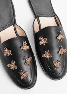 Slingback leather shoes   MANGO