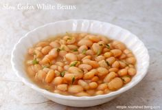 WW Simply Filling Slow Cooker White Beans are deliciously low in fat & high in fiber - about 90 calories, 0 Weight Watchers Freestyle SmartPoints Slow Cooker Beans, Healthy Slow Cooker, Slow Cooker Recipes, Crockpot Recipes, Weight Watchers Points Plus, Weight Watchers Meals, Ww Recipes, Cooking Recipes, Healthy Recipes