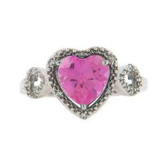 Diamond Heart Shaped Pink Topaz Birthstone Sterling Silver Ring Available Exclusively at Gemologica.com