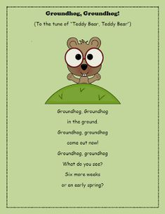 Just in time for the big day! Here is a little action song you can do with your tots and preschoolers for Groundhog Day! Preschool Groundhog, Groundhog Day Activities, Preschool Songs, Preschool Lessons, Kids Songs, Winter Songs For Preschool, Preschool Christmas, Preschool Crafts, Ground Hog Day Crafts