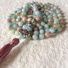 Aquamarine Beryl and AAA Moonstone Mala Necklace, 108 Mala Beads, Meditation Mala Beads, Yoga Jewelry, Buddhist Mala Prayer Beads, Japa Mala