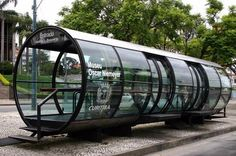 Bus stop, Curitiba, Brazil. Click image for link to more creative bus stops and… Bike Shelter, Bus Shelters, Urban Furniture, Street Furniture, Furniture Stores, Smart Furniture, Furniture Dolly, Furniture Online, Discount Furniture