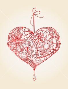 Red Work Heart mural - would be lovely as an embroidered Christmas ornament
