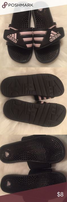 920067eb12840 Adidas Slides Classic Adidas Slides. They are black with very pale pink  stripes. Velcro