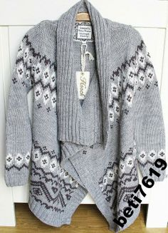 UK super sweterek VINTAGE wzory szary 140-146