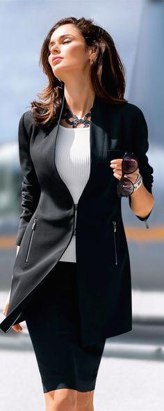 MADELEINE Long Blazer in Black