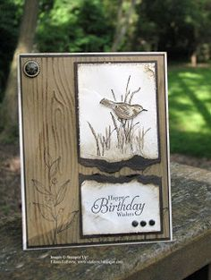 "handmade birthday card from Eileen's ""Stampin' Fever"" Blog: Techno Monday Sketch ... browns and white .. like the slightly grungy look of the torn panel and roughed up edges ... good designing with birthday sentiment in its own part of the pane ... wood grain stamped background overstamped with line are ... like this card!! ... Stampin' Up!"