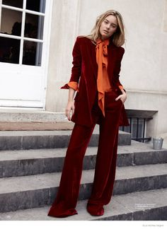 Brick red velvet pant suit by Camille Rowe + Florence Kosky Star in Elle Norway December 2014 -photo by Asa Tallgard Looks Style, Style Me, Velvet Suit, Red Velvet, Velvet Pants, Moda Vintage, Vintage Diy, Business Outfit, Looks Vintage