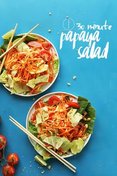 EASY Thai Papaya Salad with a zingy, spicy, sweet sauce! Papaya Recipes, Asian Recipes, Ethnic Recipes, Raw Vegan Recipes, Vegetarian Recipes, Healthy Recipes, Vegan Meals, Small Food Processor, Food Processor Recipes