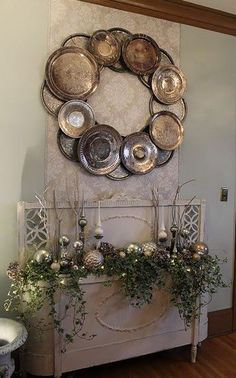 Silver wreath - from old silver plates and platters.