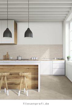 "Tile concrete look beige porcelain stoneware ""Patch Almond"" by Marazzi from EUR / m² Tile Floor, Floor Lamp, Marble Pattern, Minimalist Kitchen, Hallway Decorating, Küchen Design, Light Beige, Kitchen Flooring, White Marble"