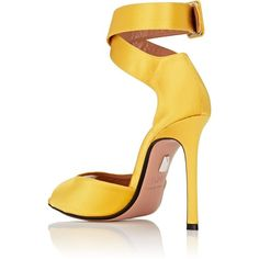 SAMUELE FAILLI Women's Jerry Satin Ankle-Wrap Sandals ($670) ❤ liked on Polyvore featuring shoes, sandals, high heel shoes, open toe high heel sandals, high heels sandals, yellow sandals and ankle wrap sandals