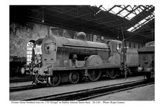 Loco 'Errigal' in the shed. Old Steam Train, Photo Engraving, Steam Locomotive, Dublin Ireland, Model Trains, Old Photos, Irish, Shed, Spirit