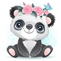 Cute Baby Panda With Floral Baby Animal Drawings, Cute Drawings, Cartoon Mignon, Panda Mignon, Panda Lindo, Baby Animals, Cute Animals, Cute Cartoon Animals, Wild Animals