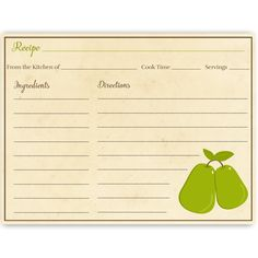 Have guests share recipes at your bridal shower with this recipe card featuring two pears that make a perfect pair.