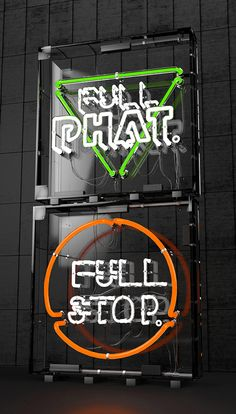 3D Neon Signage - Full Phat/Stop Events MCR on Behance