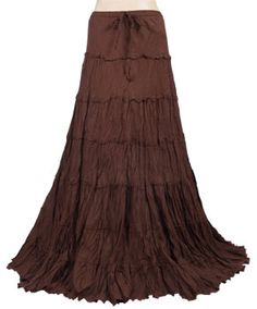 Brown Hippie Gypsy Crinkle Peasant Drawstring Long Tiered Skirt