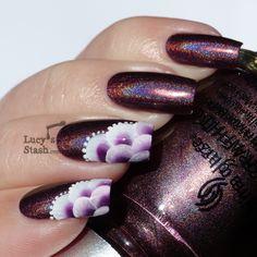 Lucy's Stash - One stroke nail art. Beautiful one stroke nail art - with polycolor acrylic nail art paints from www.TheNailArtCompany.co.uk