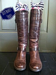 DIY boot trees..so easy and clever! Solve the floppy boot problem with this adorable addition to your closet :)