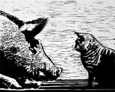Begegnung II - Originaldruckgrafik von Christina Schmetzke. Linolschnitt von Katze und Schwein