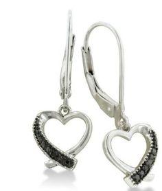 Black Diamond Heart Dangle Leverback Earrings set in Sterling Silver .06ct tw...  US$19.99  ..V .V
