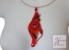 collier micro-macramé rouge collection cercle et volutes
