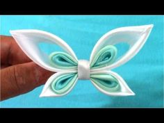 ▶ Mariposas Kanzashi butterflies ribbons en cintas para el cabello - YouTube