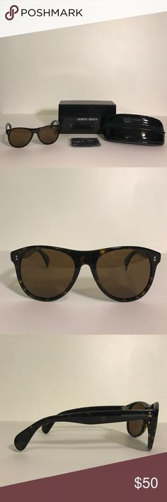 Men's Giorgio Armani Tortoise Shell Sunglasses Pre-Owned. In excellent condition, they do have scratches on the arms but they are not easily noticeable, otherwise they are clean and perfectly wearable. They come in a beautiful brown tortoise shell color and feature the Giorgio Armani logo on both arms. They also include the Box, Matching Brand Case and a cleaning cloth. Model Number: 948/S Giorgio Armani Accessories Sunglasses