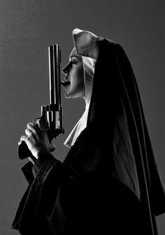 nun with gun