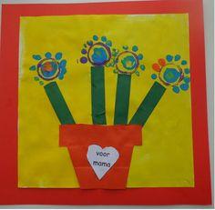 Plant met bloemen  Knip, plak en stempelwerkje
