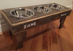 Reclaimed pallet dog bowl stand - rustic beachy style pet feeding station - naturally weathered decorative pet feeding stand - custom sizes by Kustomwood on Etsy