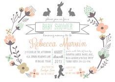 Bunny Baby Shower Invitation PRINTABLE  5x7 by RaindropLollipops, $15.00