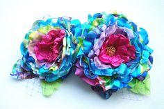Fuchsia blue rosesSet of twoColorful Designer by HansHolzkopf, $38.00