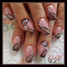 and Beautiful Nail Art Designs Fingernail Designs, Pink Nail Designs, Beautiful Nail Designs, Beautiful Nail Art, Acrylic Nail Designs, Nails Design, Nail Art Flower Designs, Flower Design Nails, Dusty Pink Nails