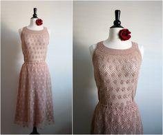 Vintage Nude Crochet dress Size M/L by PARASOLvintage on Etsy