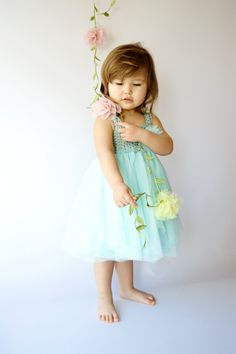 Aqua Baby Tulle Dress with Empire Waist and Stretch Crochet Top.Tulle dress  for girls with lace crochet bodice