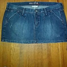 Hollister mini denim skirt Hollister distressed denim mini skirt; size 7; 100% cotton; excellent condition , like new; Hollister Skirts Mini