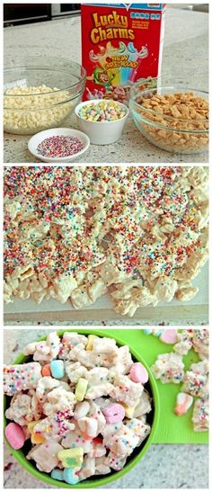 """Lucky Rainbow Chex mix -probably not the best """"snack"""" recipe, but looks good! Yummy Snacks, Yummy Treats, Delicious Desserts, Sweet Treats, Snack Recipes, Dessert Recipes, Yummy Food, Yummy Recipes, Chez Mix Recipes"""