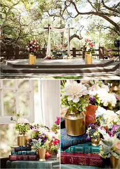 Made by Juvenia Photographer | Oak Canyon Nature Center | Rustic Wedding | Orange County | Los Angeles | Purple / Lavender Bridesmaid Dresses | Pink | Succulents | Bouquet | Outdoor Wedding | Stage Decor | Vintage Desk | Milk Cans | Gold Vases | Mason Jars