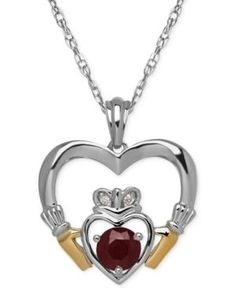 Ruby (5/8 ct. t.w.) and Diamond Accent Heart Pendant Necklace in Sterling Silver and 14k Gold