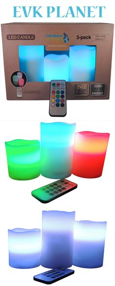 Gorgeous Flameless Candles with a remote control and timer on Amazon. http://evkplanet.com/Ledcandles Let's create a different atmosphere every day by simply changing the color of these beautiful candles!