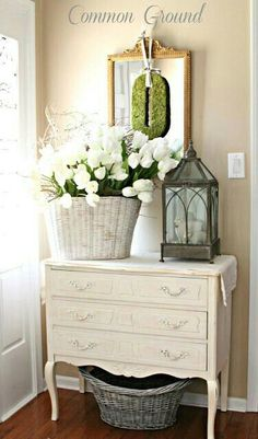 Vintage Decor Ideas Springtime French Country-Inspired Foyer Display - French country design and decor ideas can incorporate both new objects as well as antique or repurposed vintage items. Find the best ideas!
