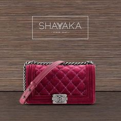 Boy Chanel Flap Bag in Velvet Red with Large Stiching | Available Now  For inquiries, please contact sales@shayyaka.com or +961 71 594 777 (Call, SMS, WhatsApp, or iMessage) or Direct Message on Instagram (@Shayyaka). Guaranteed 100% Authentic | Worldwide Shipping | Credit Cards or Bank Transfer