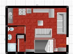 Placing the bed long-side on the wall gives this space room for two couches and lots of seating.