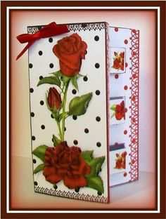 Card Gallery - Double Pop Out Card - Romantic Red Roses  Card made up by Rae Trees.