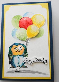 Tim Holtz Crazy Birds Stamp Set – Stampin' UP! Balloon Punch, some watercolour paper, with Stampin' UP! ink and aquapainters.  A heat embossed and hand cut sentiment and voila!  H…