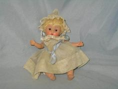VERY PRETTY RARE TRI-COLOR BROWN CRIB CROWD BABY GINNY DOLL WITH ORGINAL OUTFIT